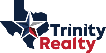 Logo for Trinity Realty.  Texas icon with a Texas star inside it that says Trinity Realty.