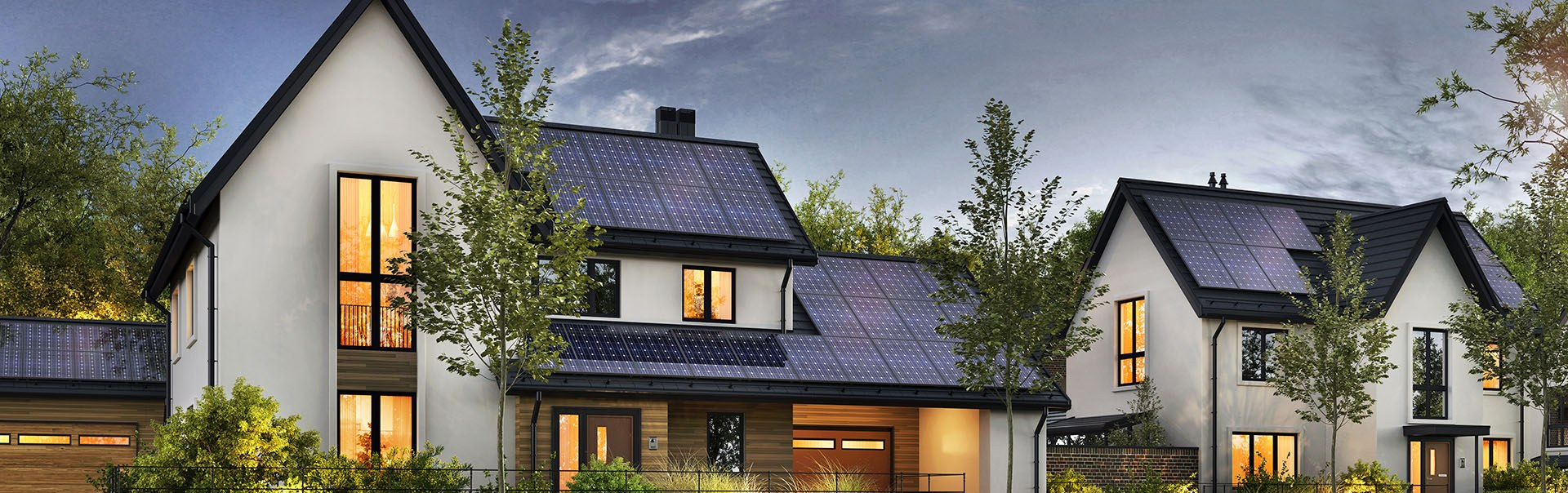 Background image of nice houses with solar panels